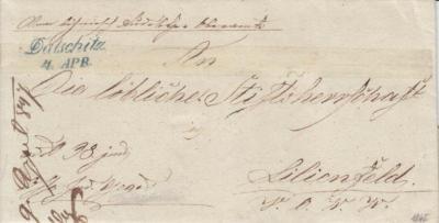 4.4.1847, úřední dopis, razítko A.8-j zelené