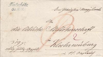 31.5.1847, úřední dopis Slavonická radnice, razítko A.8-j modré, poštovní záznam P (červeně), porto osvobozeno od poštovného