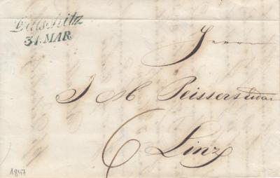 31.3.1847, obchodní dopis Dačický cukrovar, razítko A.8-j modré