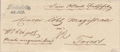 13.6.1845, úřední dopis do Terstu, razítko A.8-j., modré, příchozí razítko Triest 17.června