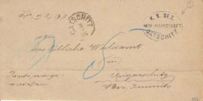 3.3.1886, úřední dopis bez poštovného, razítko okresního úřadu na Lesní správu Uherčice u Jemnice