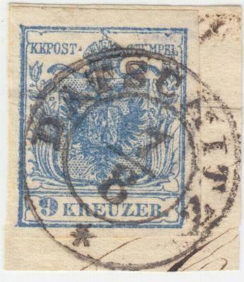ÖSTERREICH 1850 9kr, HP, Type II. Wasserzeichen