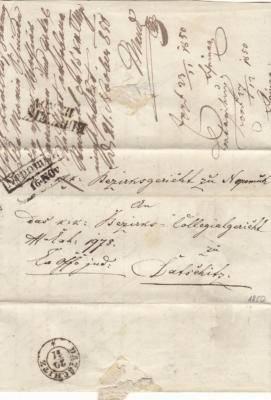 16.11.1850 ExOffo dopis z Okresníhosoudu Nepomuk na Okresní soud Dačice, průchozí razítko Č.Budějovice