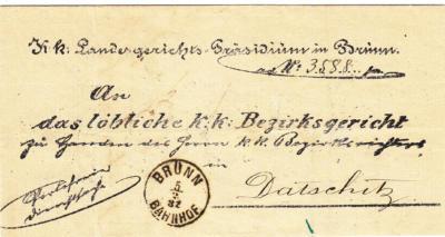 5.2.1882 - ExOffo dopis z Zemského soudu v Brně na Okresní soud Dačice, příchozí rezítko 6.2.1882