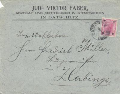 Judr Viktor Faber Datschitz, Friedrich Müller Zlabings - starosta