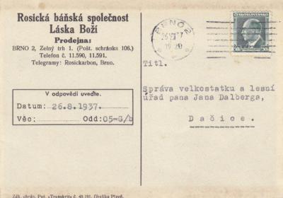 Dalberg Statek dopisnice/korespond. 1892-1939