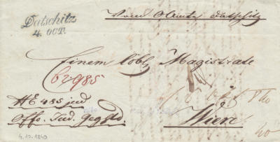 4.10.1840, úřední dopis, razítko A.8-j, modré