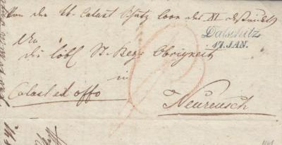 17.1.1841, úřední dopis, razítko A.8-j modré, 4.11.1840, úřední dopis ze Slavonické radnice do Vídně, razítko A.8-j černé, poštovní záznam P (červeně), porto osvobozeno od poštovného
