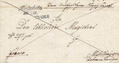 24.5.1842, úřední dopis, razítko A.8-j modré, první razítko FRANCO, přeškrtnuté - poštovné uhrazeno odesilatelem