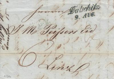 9.8.1844, obchodní dopis z Dačické cukrovaru, razítko A.8j modré, poštovné 6 kr, hradí příjemce