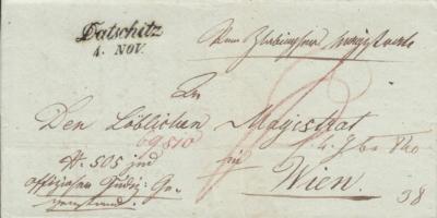 4.11.1840, úřední dopis ze Slavonické radnice do Vídně, razítko A.8-j černé, poštovní záznam P (červeně), porto osvobozeno od poštovného