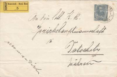 1916 doporučený dopis z Nové Říše do Dačic