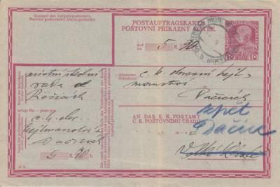"""13.12.1915 Příkazní lístek """"příkazka"""" k zaplacení 5K 30ha od školní rady v Řečici. Dlužník nepřevzal, odesláno 22.12.1915 zpět do Dačic"""