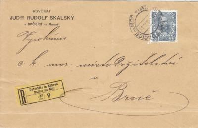31.12.1916 rekomando Brno, porto 35h, vzadu zálepka