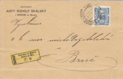 31.12.1916 rekomando Brno, porto 35h,