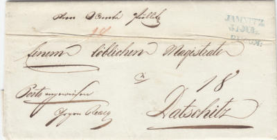 31.7.1846 - příchozí úřední dopis z Vrchního úřadu Police / Pullitz, podaný v Jemnici doporučeně, poštovné přesto doměřeno 18 krejcarů platil odesilatel.