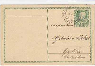 15.4.1910 vlaková pošta Zlabings - Schwarzenau trať 613