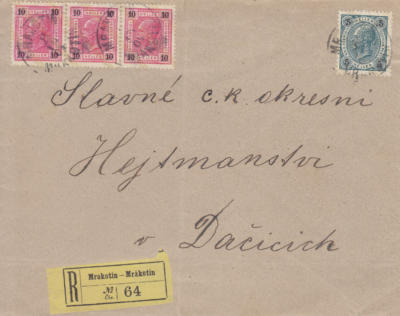10.9.1904 rekomando z Mrákotína do dačic, poštovné 35h., vzadu příchozí Dačice