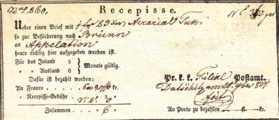 26.2.1837 - potvrzení o zaslání částky 1zl.23kr. do Brna. Podpis Petr Foit