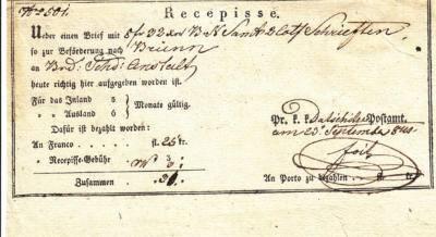 23.9.1841- potvrzení o zaslání částky 8zl.32kr. do Brna. Podpis Petr Foit