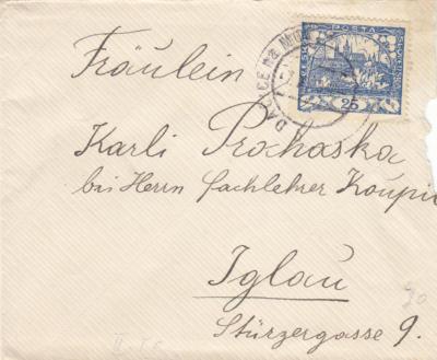 provizorní 7.razítko s vylomeným německým názvem