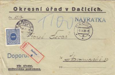Slavonice Dačice doplatní 1928-1945