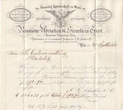 8.91863 - dopis z pojištovny správcům města Dačic o zaslání prémie-šeku k pojistné smlouvě
