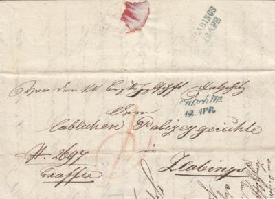 12.4.1850 úřední dopis z Dačic na Policejní soud Slavonice
