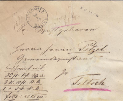20.7.1882 5.razítko již použité v 1882. Peněžní obnos od barona Dalberga, Franco, recomandiert