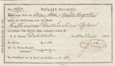 28.7.1952 potvrzení, podací lístek - recepis - za zaslání cenné  psaní s hotovostí Kateřině Palečkové z Jihlavy, podepsán Peter Foit. Postamt Datschitz.