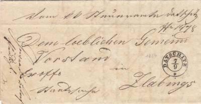 7.9.1854 Vom K.K.Steueramte Datschitz Dem Loeblichen GemeindVorstand in Zlabings. Ex offo Steuersache7.9.1854 Od C.K Berního úřadu Dačice na Vážené představenstvo obce Slavonice. Úřední věc daňová