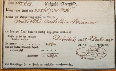 28.12.1843 potvrzení - recepis - o zaslání částky 238 fl 7 kr na apelační soud do Brna. podpis Petr Foit