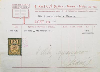 B.Kasalý tiskárna Dačice - účtenka