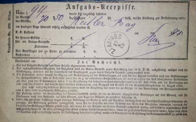 27.6.1875 podací lístek Slavonice, Aufgabe-Recepisse Zlabings