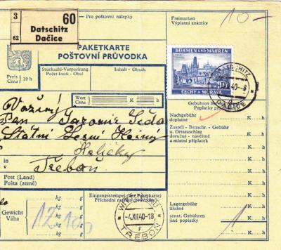 3.12.1940 Balíková průvodka - Dačice / Třeboň