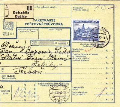 3.12.1940 Balíková průvodka Dačice / Třeboň