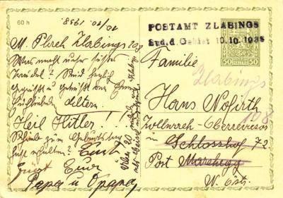 10.10.1938 dopisnice CDV 37 - provizorní razítko Zlabings - obsazené Sudety