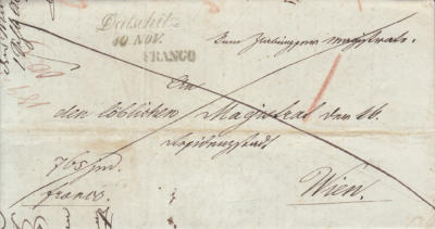 10.11.1845, dopis Slavonické rednice do Vídně, poštovné hrazeno odesilatelem - přeškrtnutá přední strana + razítko FRANCO