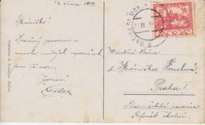 1919 znárodněné razítko používané po vzniku ČSR, vylomený německý nápis