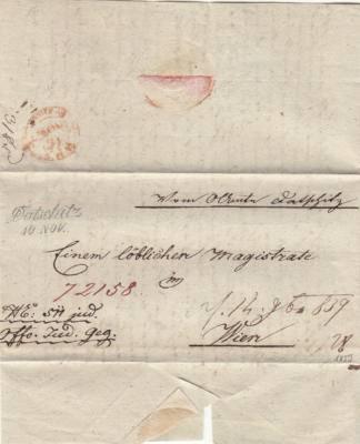 10.11.1839 úřední dopis do Vídně, 2. razítko