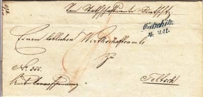 4.5.1850 úřední dopis do Telče, 2.razítko Dačic, modré