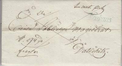 20.1.1837 dopis od Vrchního úřadu Platz v justiční věci (Stráž n Nežárkou), razítko Neuhaus (Jindřichův Hradec), franco uhrazeno (dvojity škrt)