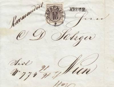 14.10.1851 Datschitz 9kr HP + Reco 9kr HP přetržená, podložený střed