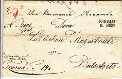 8.9.1844 - dopis s hotovostí z Kroměříže na magistrát Dačice