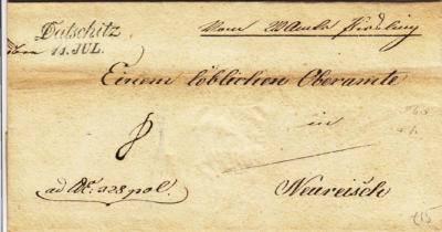 11.6.1841 - úřední dopis z Písečné do Nové Říše, podaný v Dačicích, ten samý den průchozí razítko Želetava.