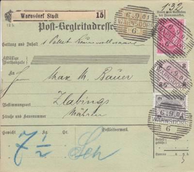 6.9.1901 balíková průvodka Varnsdorf - Slavonice,