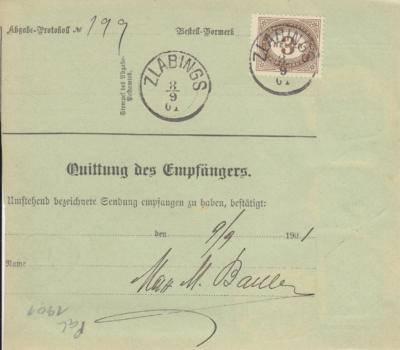 9.9.1901 balíková průvodka Varnsdorf - Slavonice, doručné 3 heller