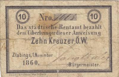 V revolučních letech 1848 a následujících se stávalo, že lidé nedůvěřovali papírovým penězům a hromadili raději mince, kterých byl poté nedostatek. Některá města tak vydávala nouzové peněžní poukázky, jako náhradu oběživa. Ve Slavonicích došlo k vydání 1.listopadu 1860, tištěné ve Znojmě. V literatuře jsou uváděny dokonce již 27.10.1860 ručně psané provizorní. Nouzovka z 1.11. je k proplaceni městským důchodovým úřadem Slavonice a podepsána starostou Langthalerem, otisk modrého razitka vzadu, hodnota 10 krejcarů.