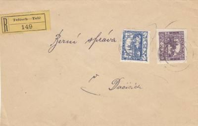 2.6.1919 doporučený dopis Telč-Dačice